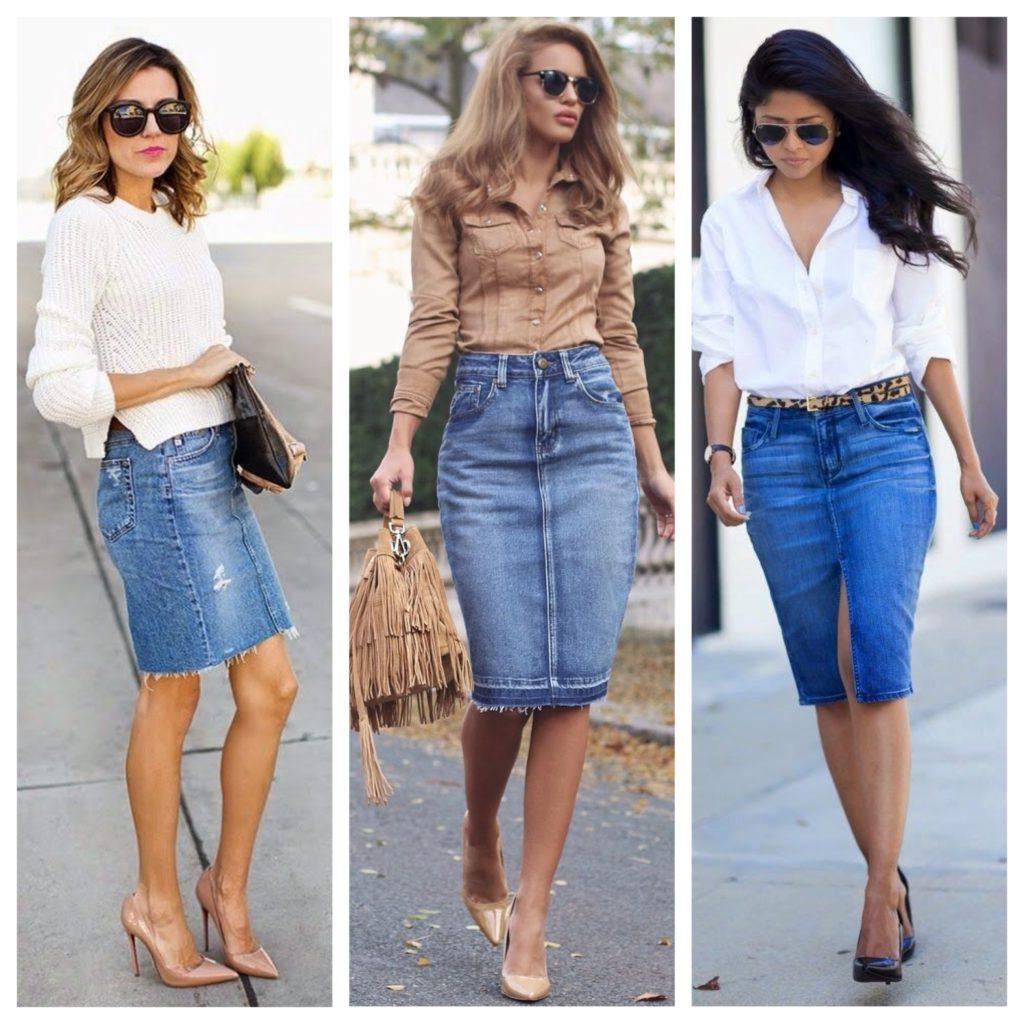 образы с джинсовой юбкой карандаш