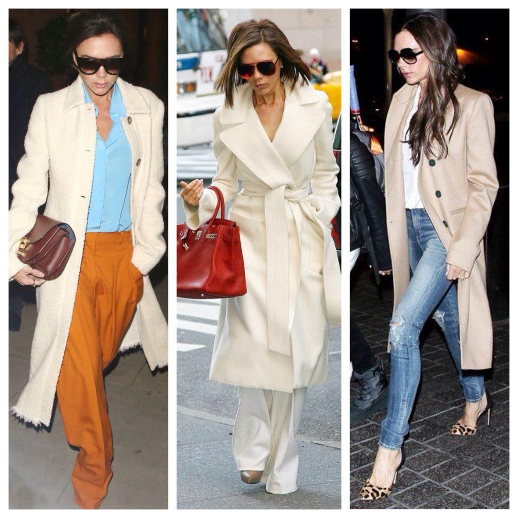 светлые пальто образы Виктории Бекхэм