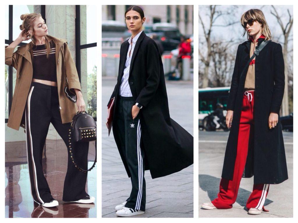 брюки с лампасами с пальто