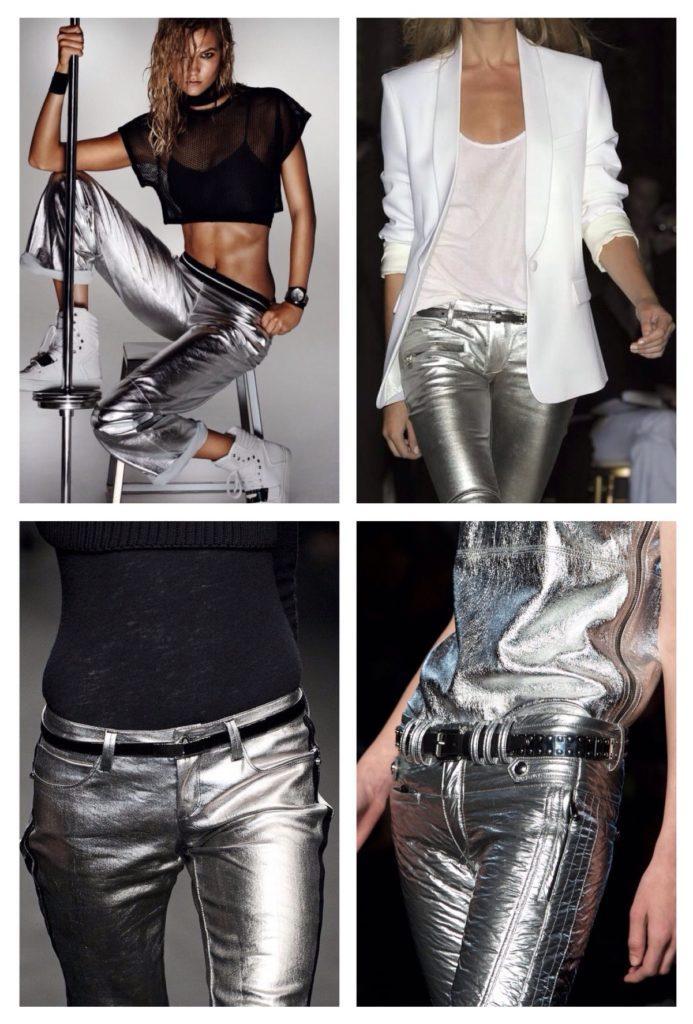 брюки на подиумах серебро