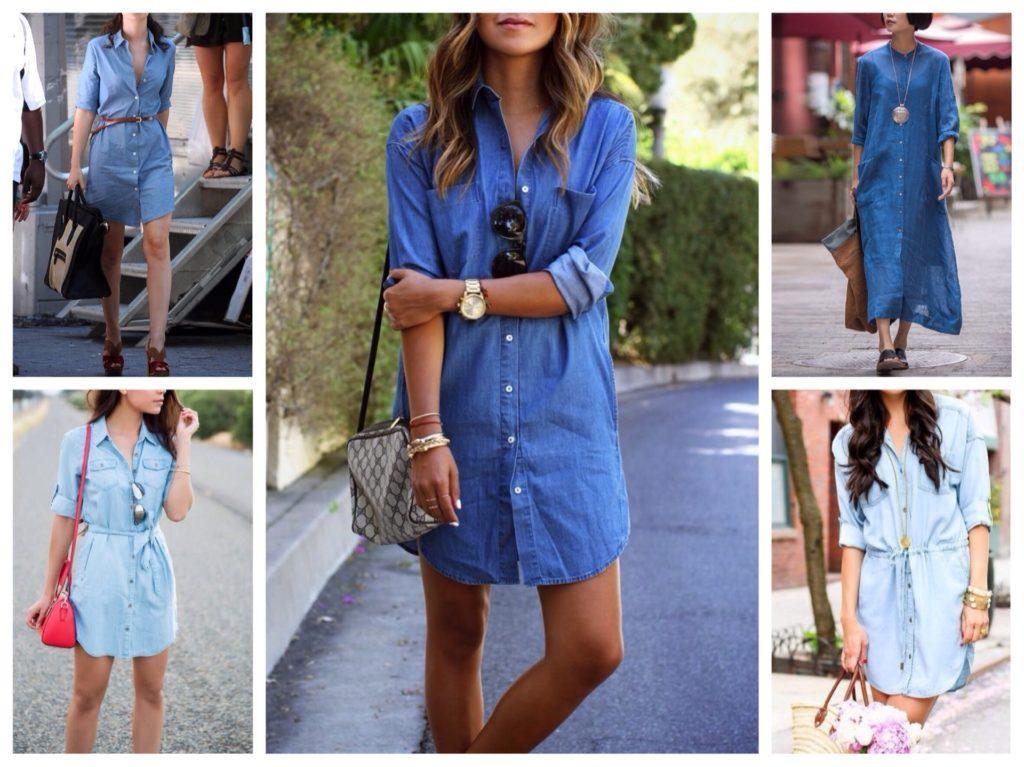 джинсовые платья рубашки