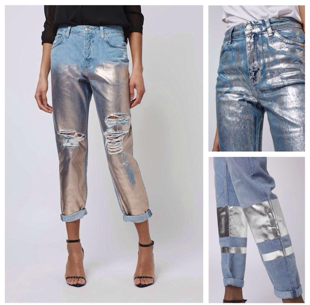 джинсы с напылением металлик