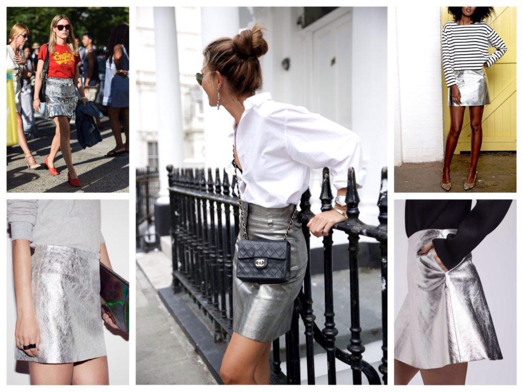 короткие серебристые юбки