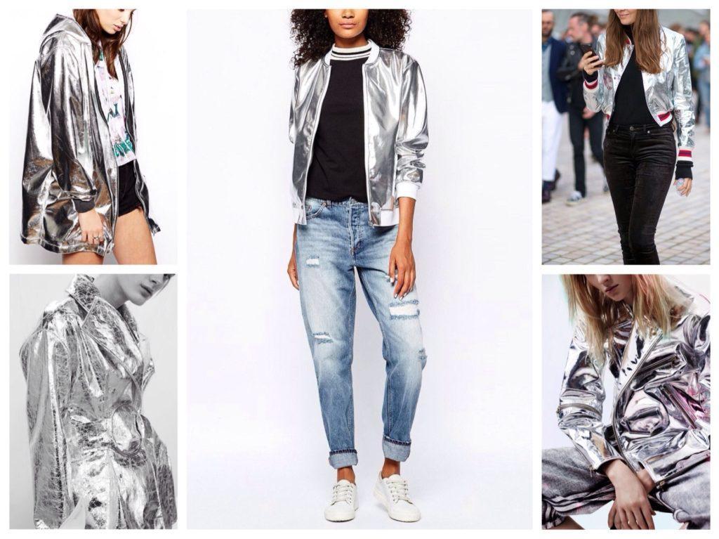 куртки металлик серебро