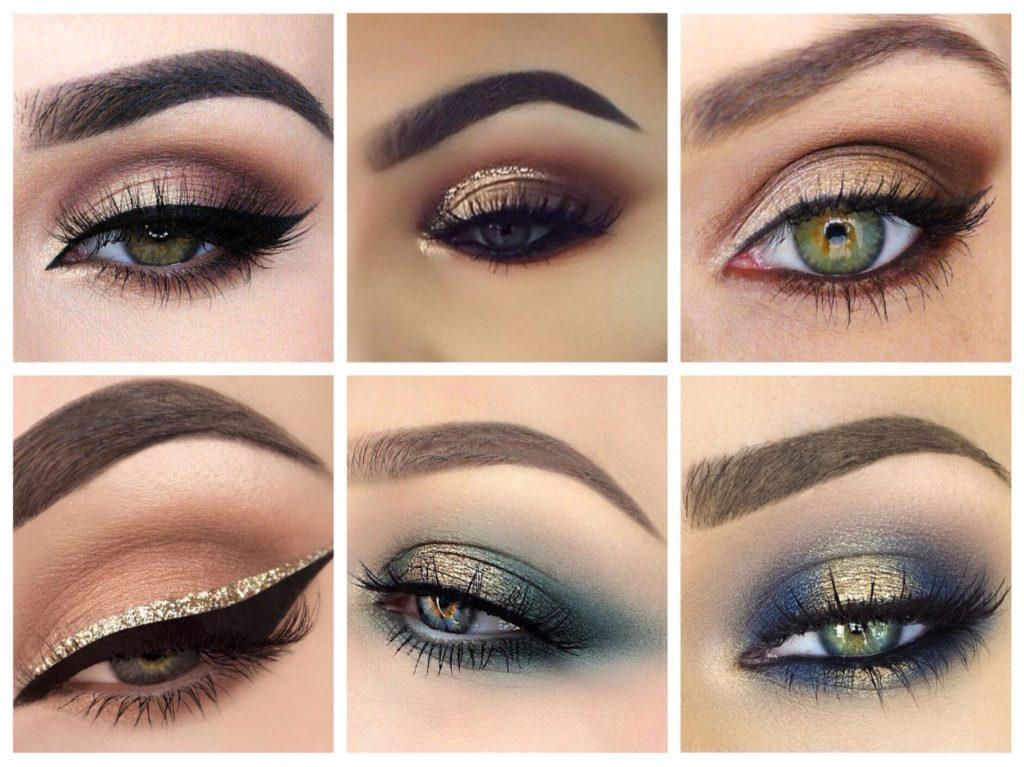 макияж с использованием золотистого металлика