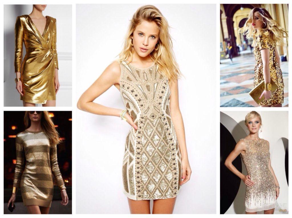 платье футляр золотой