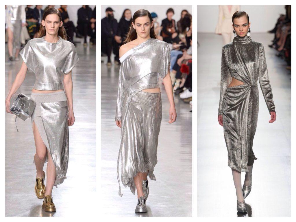 платье металлик серебро подиум