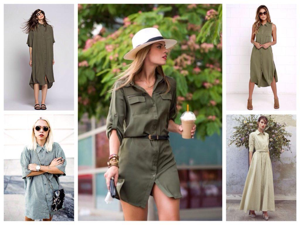 платье рубашка в зеленых оттенках