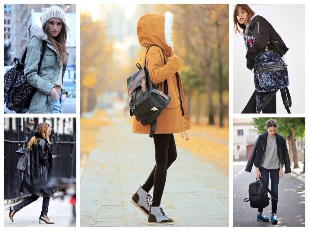 рюкзаки с парками и куртками