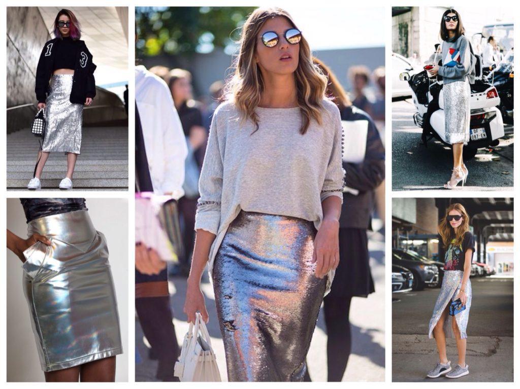 серебряные юбки миди
