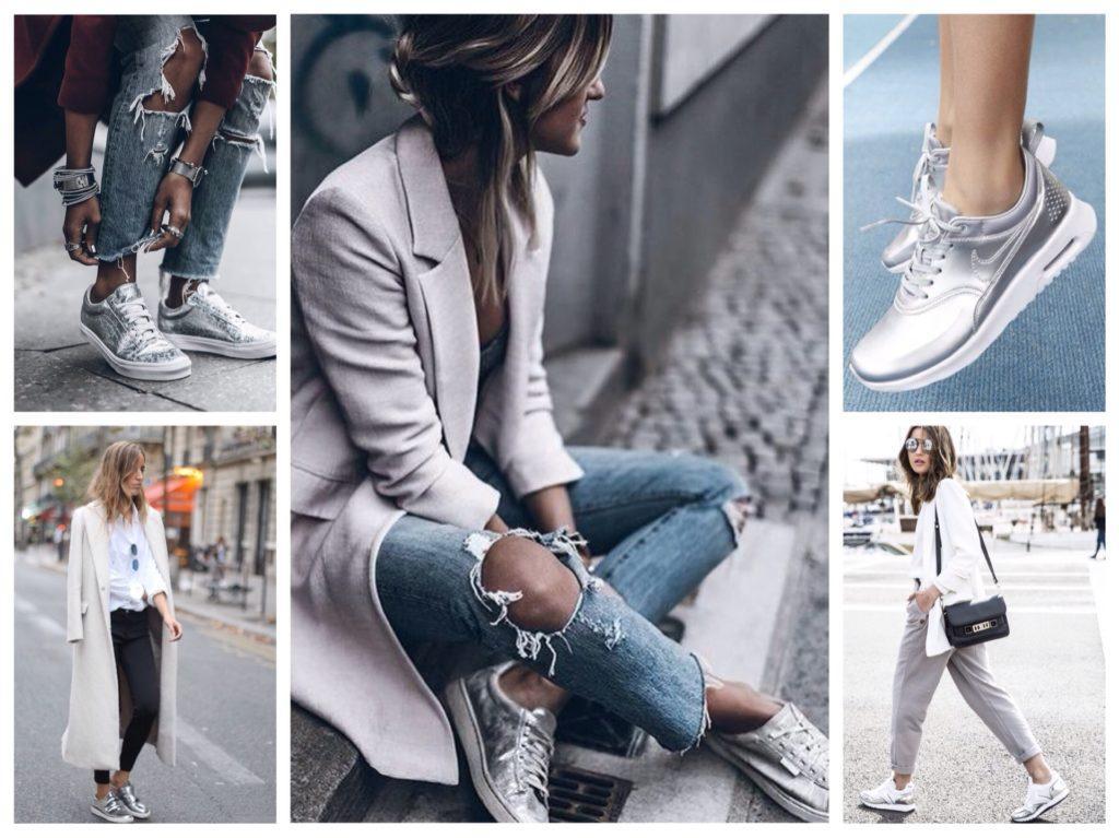 спортивная обувь металлик