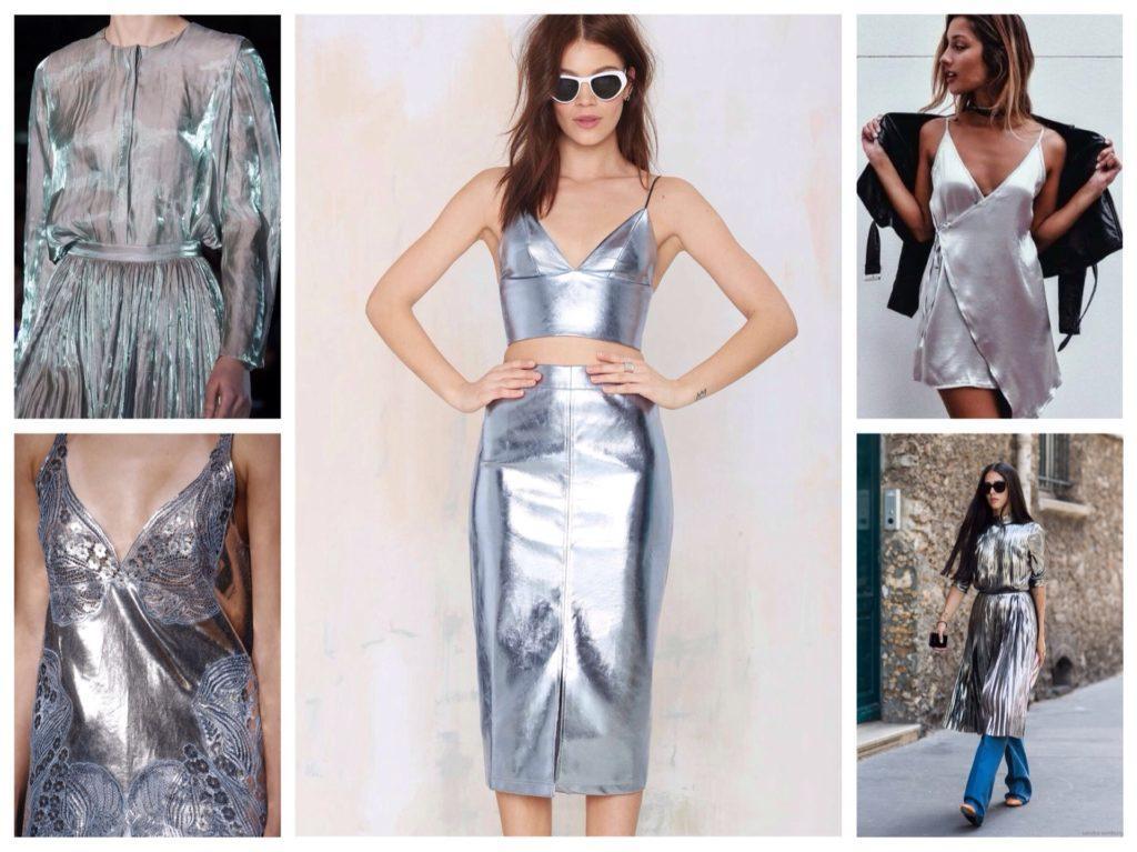 женственные ситуэты металлик серебро