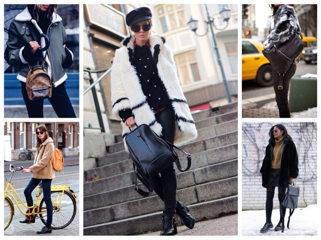 зимние образы с рюкзаками