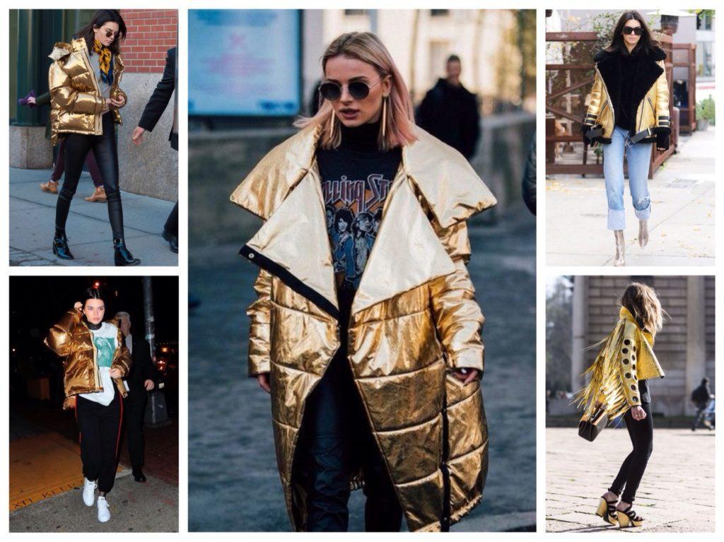 золотистые куртки в комплектах