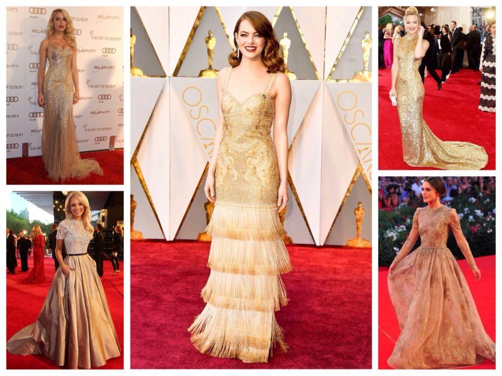 золотистые платья на красной дорожке