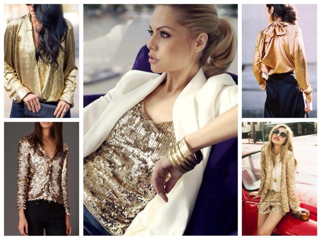 золотистые топы и блузы