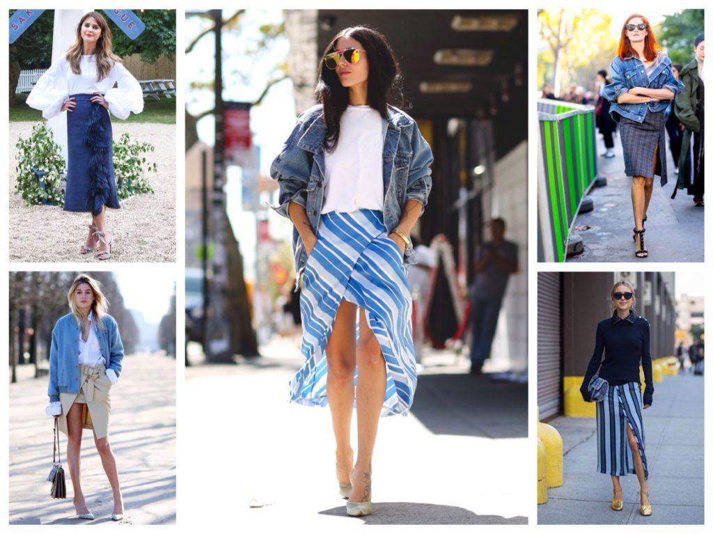 аутфиты модных блоггеров юбка на запах
