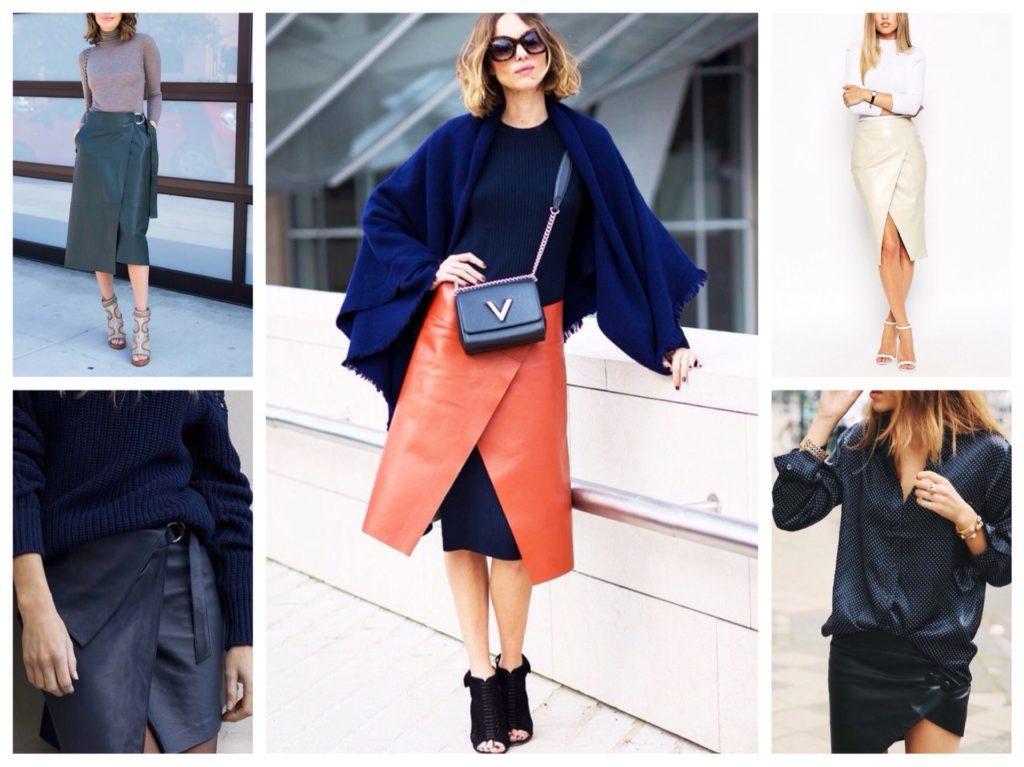 модели кожаных юбок с запахом