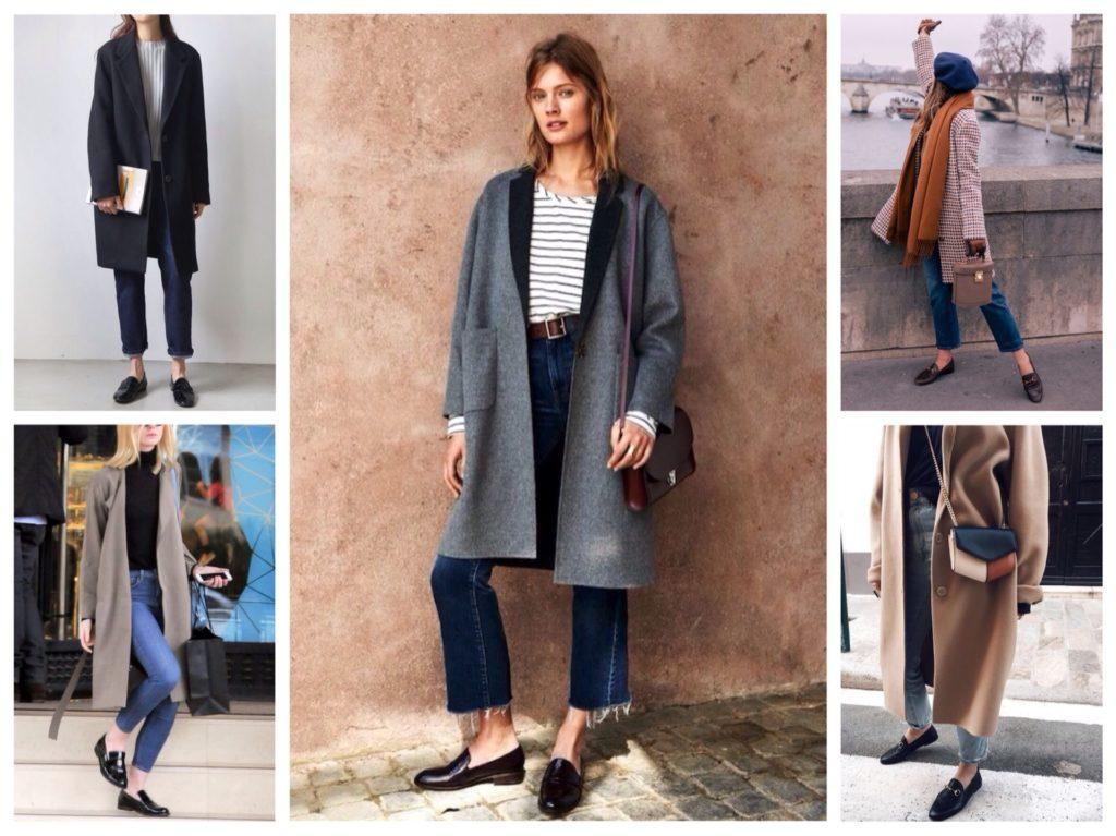 пальто и лоферы