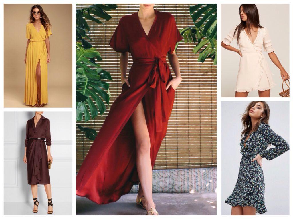 разнообразие моделей платья с запахом