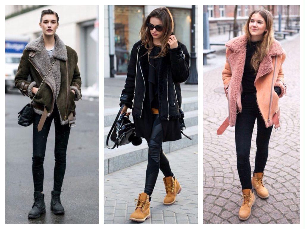 ботинки с меховой курткой косухой