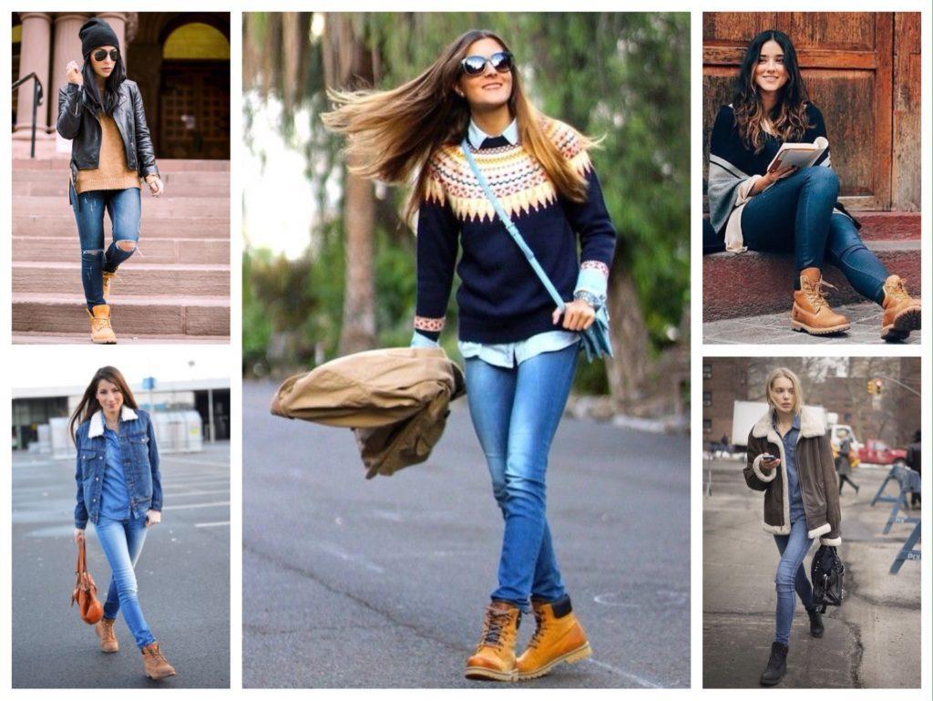 ботинки тимберленды с джинсами