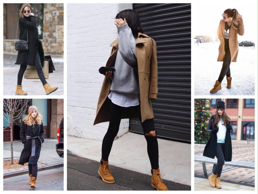 пальто в паре с тимберлендами