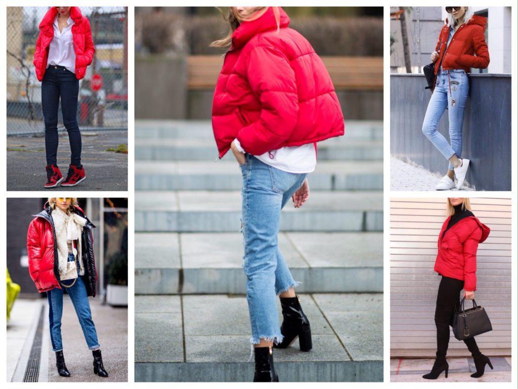 аутфиты с красной курткой
