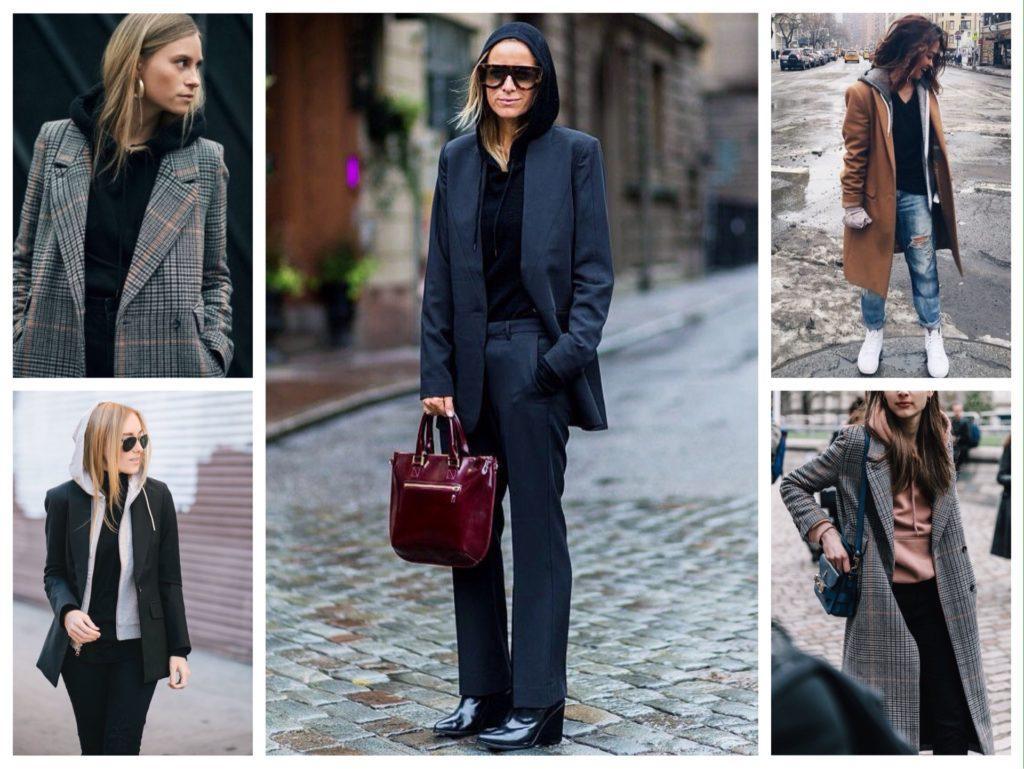 образы худи с пальто