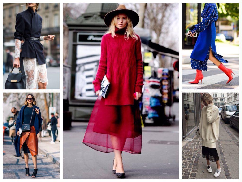 многослойные образы с юбками и платьями