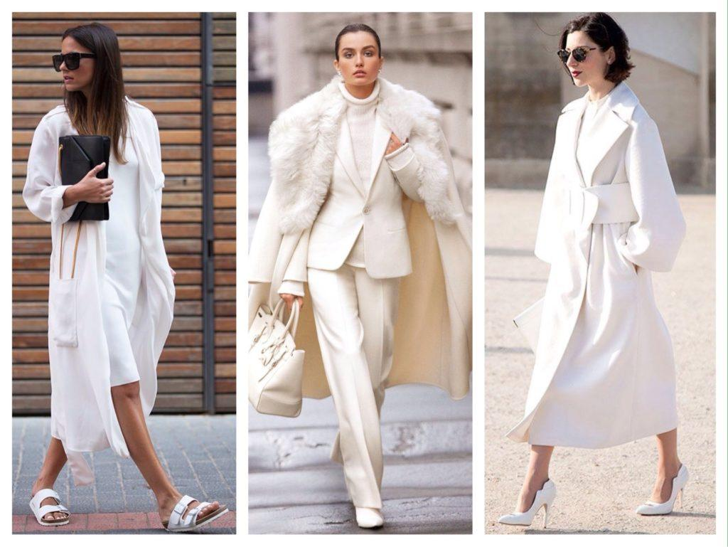 белые аутфиты с верхней одеждой