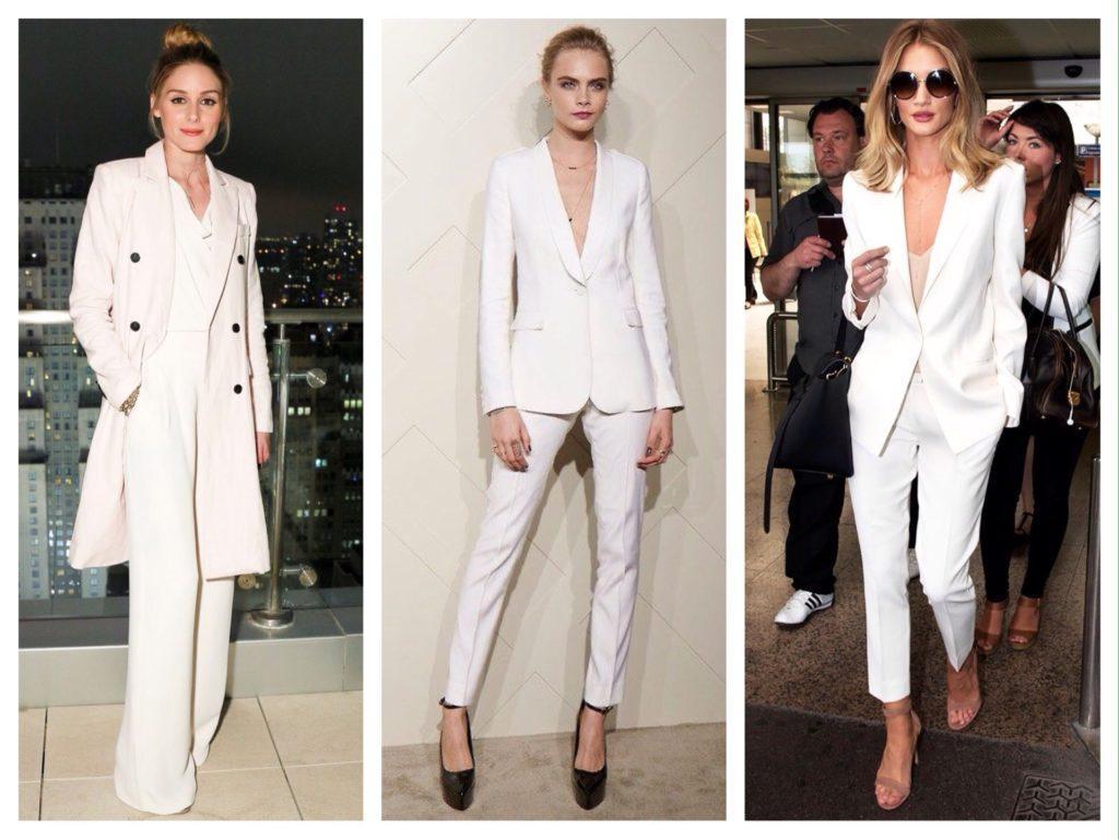 белые брючные костюмы