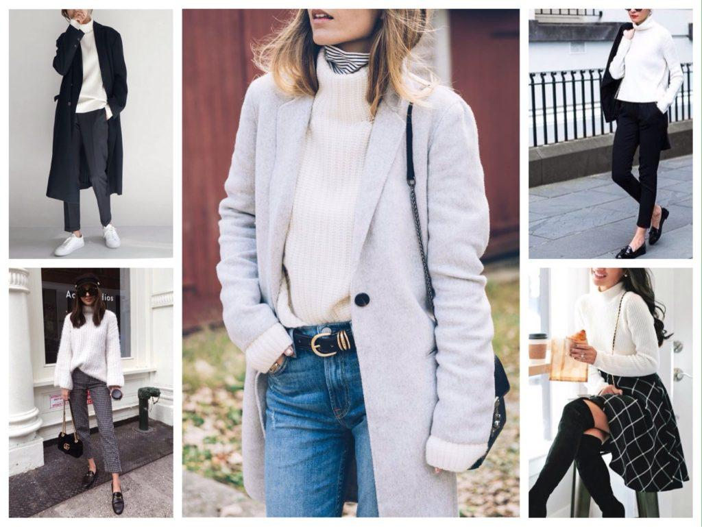 белые модели свитеров и водолазок