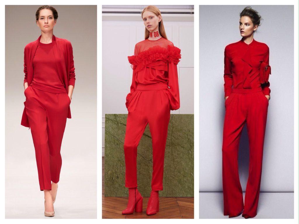 дизайнерские красные брючные комплекты