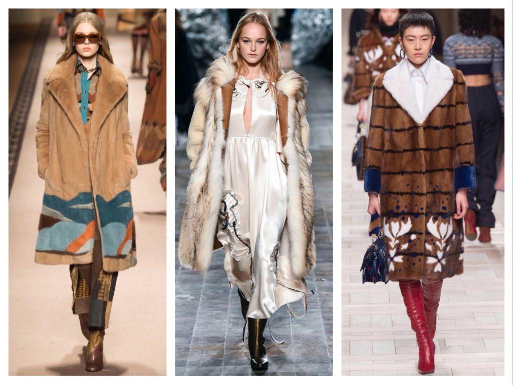 меховые аппликации в пальто