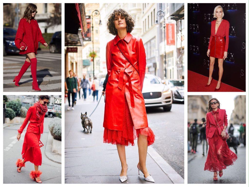 образы в красном с юбками или платьем