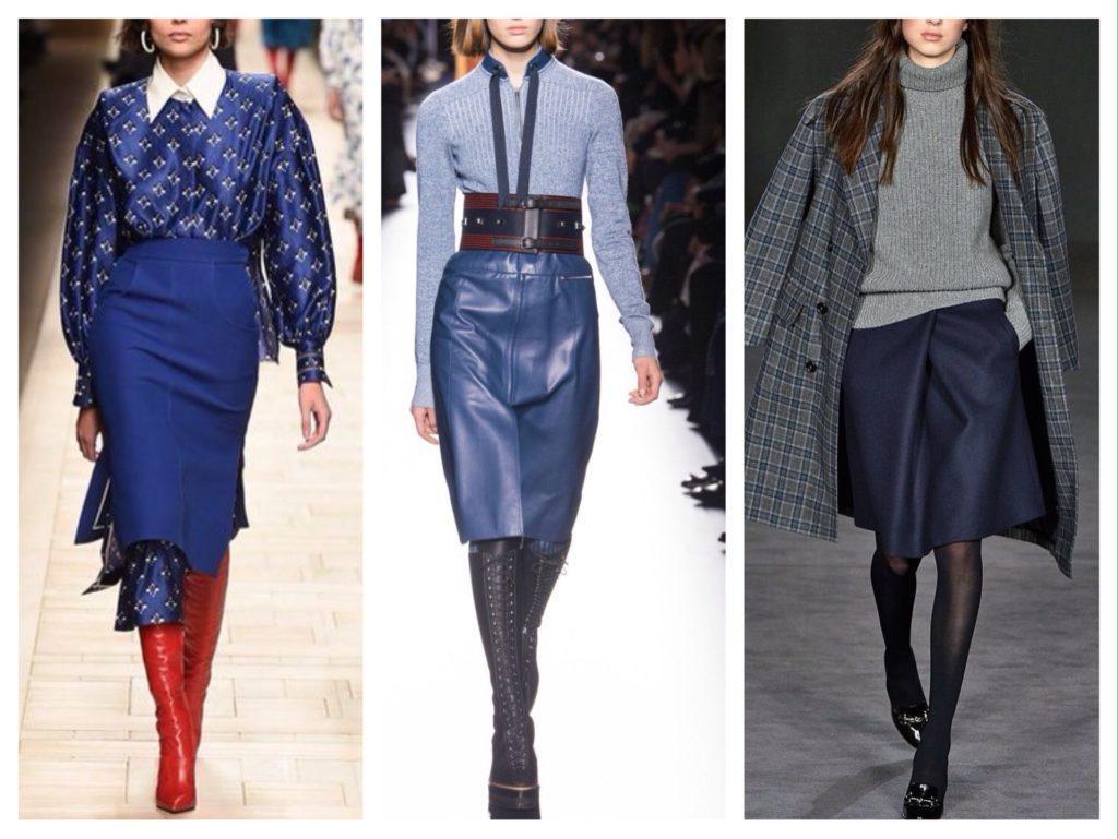 Синие юбки в образах с подиумов