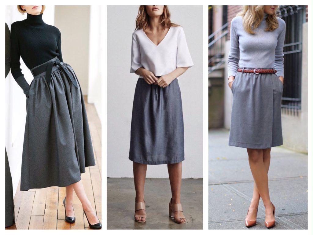присборенные на талии серые юбки