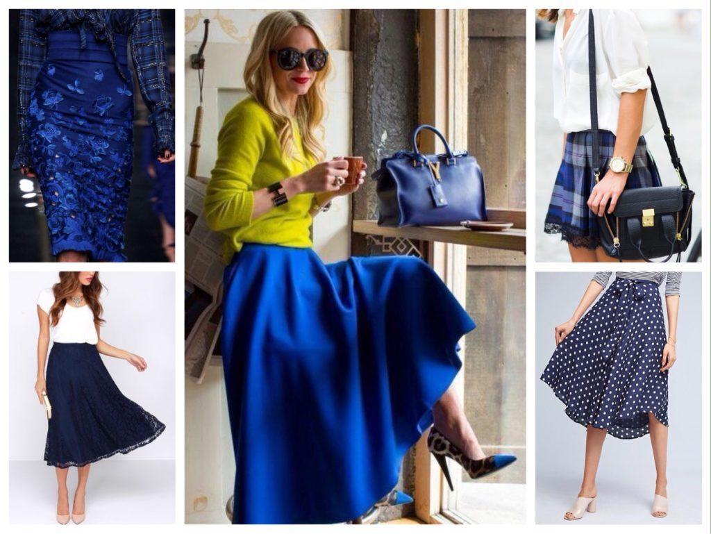 различные модели синих юбок