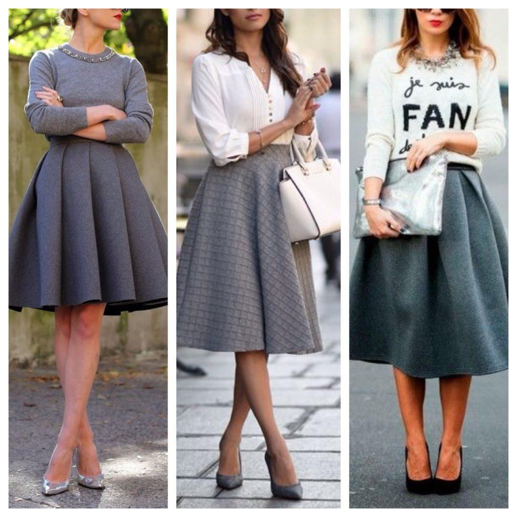 серые юбки миди
