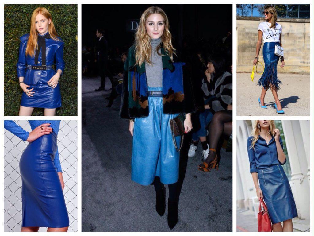синяя кожаная юбка образы