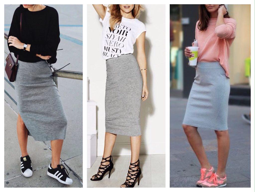 трикотажные модели юбок с обувью
