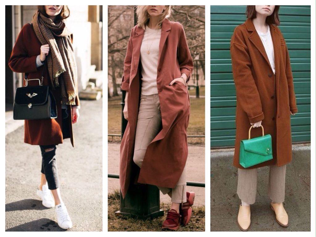 варианты аутфитов с кирпичным пальто