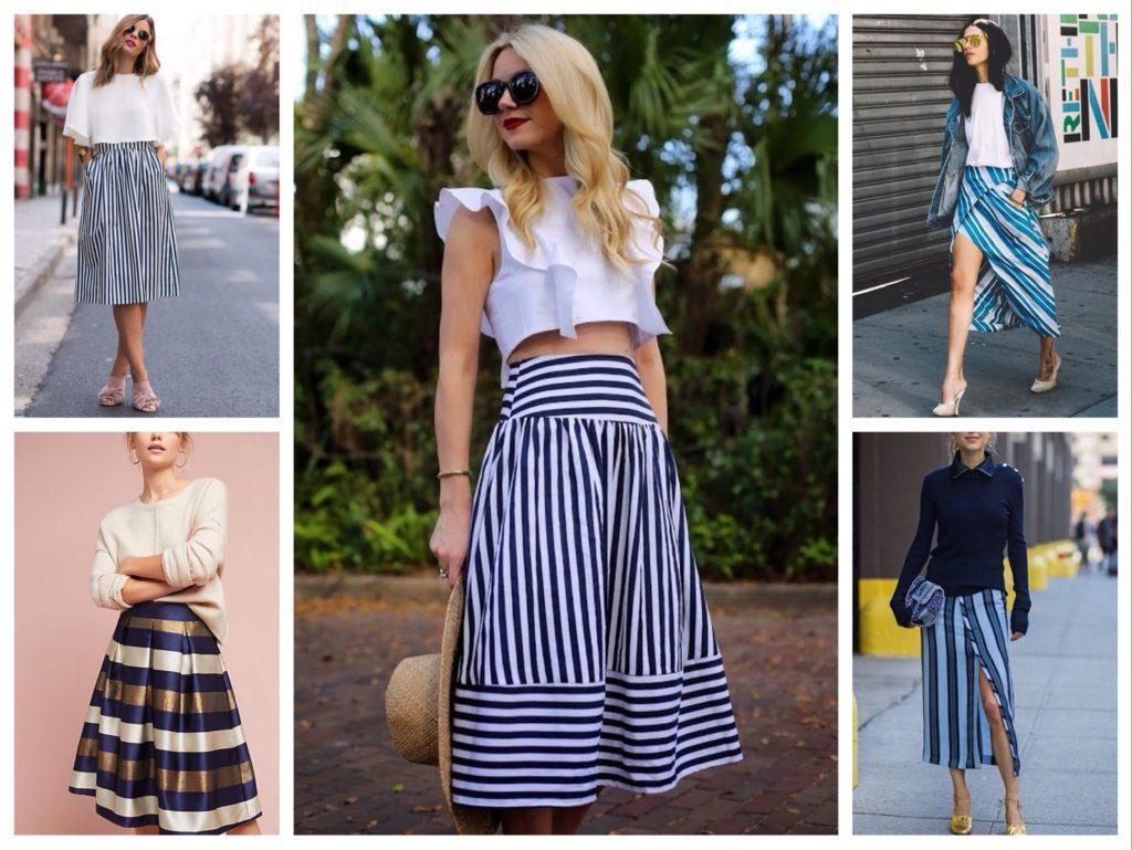 юбки в полоску модные комплекты