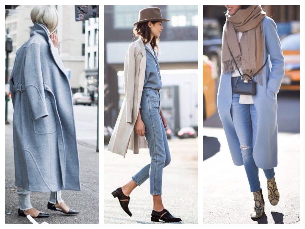 голубые джинсы в дуэте с пальто