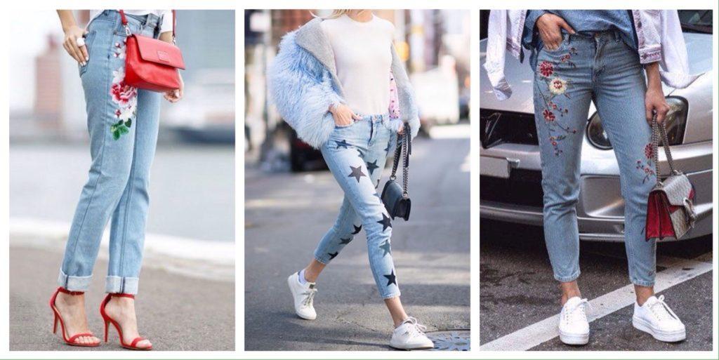 голубые модели джинсов с вышивкой