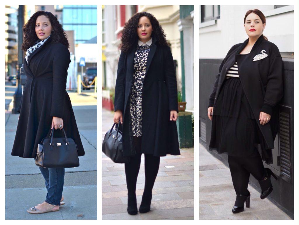 комплекты с черным пальто plus size
