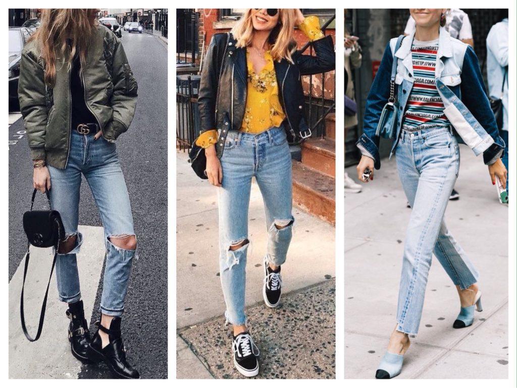 куртка с голубыми джинсами