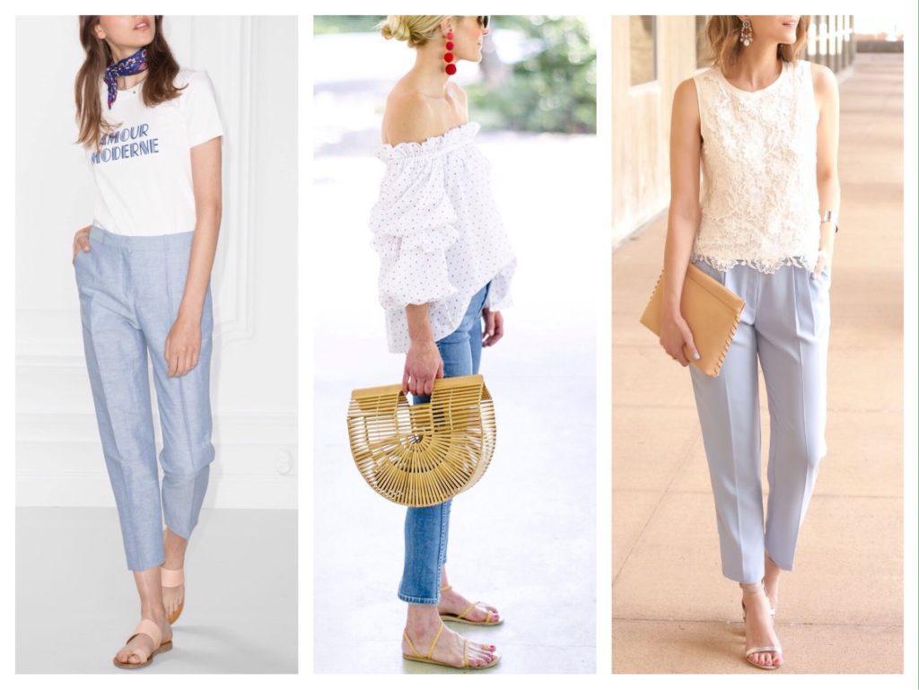 образы для лета с голубыми брюками