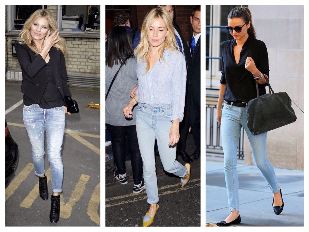селебрити в голубых джинсах